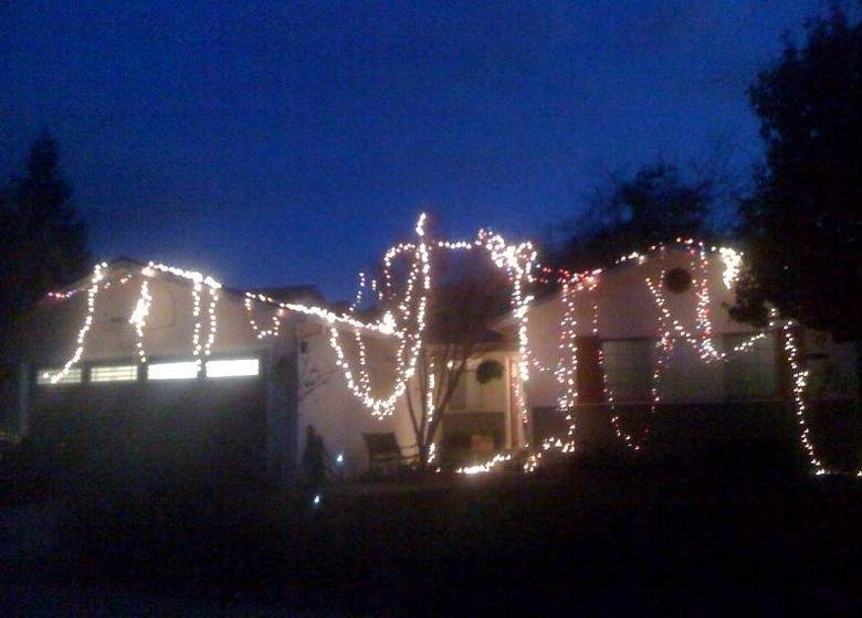 Lazy Christmas Lights. I didn't feel like taking out the ladder so I just threw them on there .