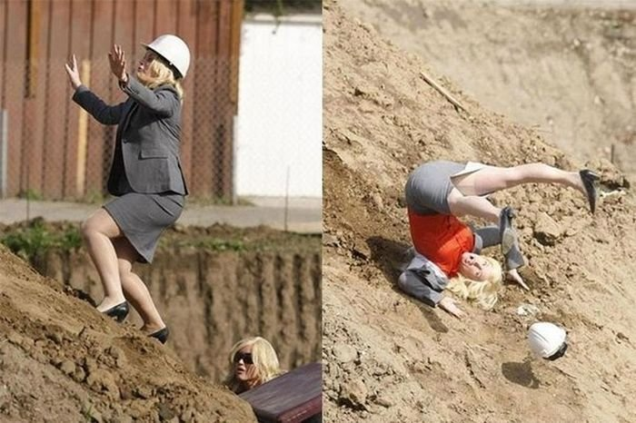Women. simply do not belong on construction sites... This is a scene from a TV show called Parks and Recreation. This woman is an actor. This woman was paid to fall like that. That woman is not actually that dumb.